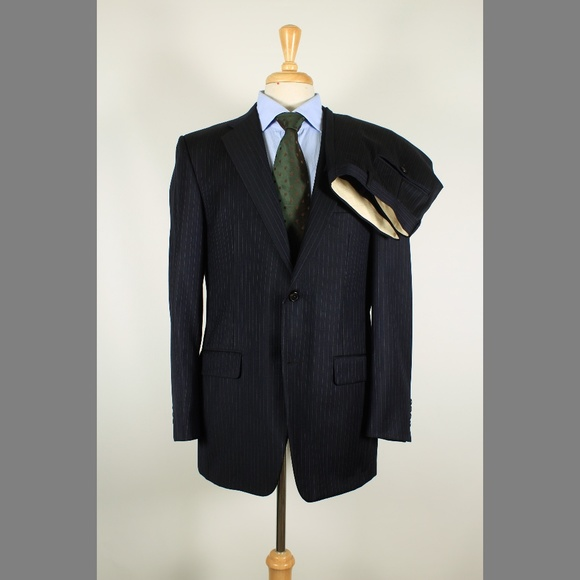 Hickey Freeman Other - Hickey Freeman 40R 34x32 Pleat Navy Suit 97-J